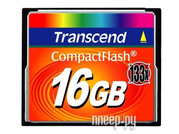 Карта памяти 16Gb - Transcend 133x Ultra Speed - Compact Flash TS16GCF133