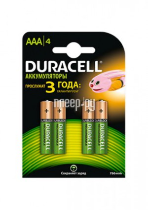 Купить Аккумулятор AAA - Duracell HR03 750 mAh BL4 (4 штуки)