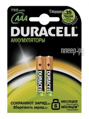 Купить Аккумулятор AAA - Duracell HR03 750 mAh BL2 (2 штуки)