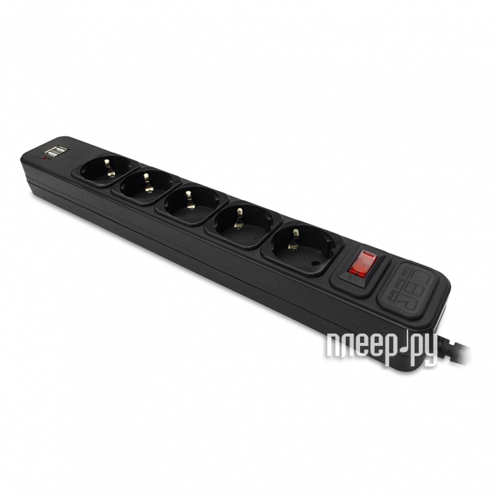 Сетевой фильтр CBR 5 Sockets 2 USB, 1,8m Black CSF 2500U-1,8