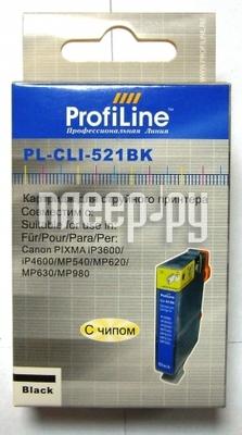 Картридж ProfiLine PL-CLI-521BK для Canon Pixma Ip3600 / IP4600 / MP540 / MP620 / MP630 / MP980 с чипом