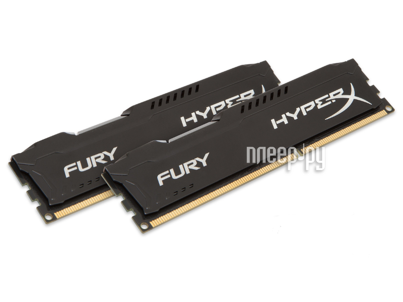 Модуль памяти Kingston HyperX Fury Black Series PC3-12800 DIMM DDR3 1600MHz CL10 - 8Gb KIT (2x4Gb) HX316C10FBK2/8