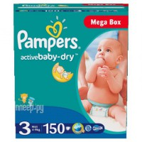 Подгузники Pampers Active Baby-Dry Midi 4-9кг 150шт 4015400265207