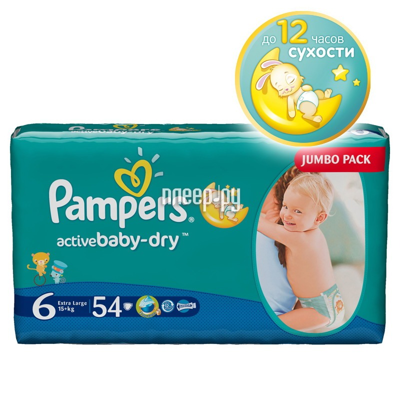 Подгузники Pampers Active Baby-Dry Extra Large 15+кг 54шт 4015400244875