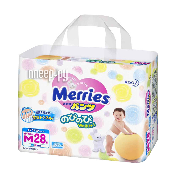 Подгузники Merries M трусики 6-10кг 28шт 62020405