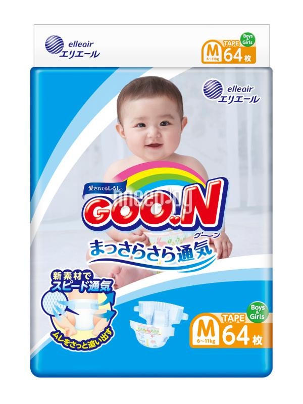 Подгузники Goo.N M 6-11кг 64шт 4902011751338