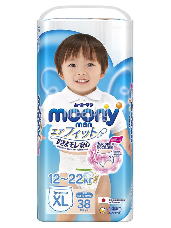 Подгузники Moony Unicharm Big 12-17кг 38шт для мальчиков 4903111183685 / 4903111184675