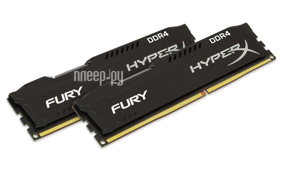Модуль памяти Kingston HyperX Fury DDR4 DIMM 2666MHz PC4-21300 CL15 - 16Gb KIT (2x8Gb) HX426C15FBK2/16