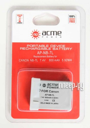 Аккумулятор AcmePower AP NB-7L  Pleer.ru  250.000