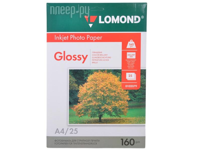 Фотобумага Lomond 0102079 глянцевая 160g/m2 А4 односторонняя 25 листов