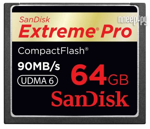 Карта памяти 64Gb - Sandisk 600x Extreme Pro CF 90MB/s - Compact Flash SDCFXP-064G-X46  Pleer.ru