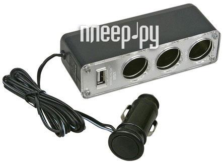Аксессуар Разветвитель прикуривателя на 3 гнезда и 1 USB выход Espada E-13U  Pleer.ru  495.000