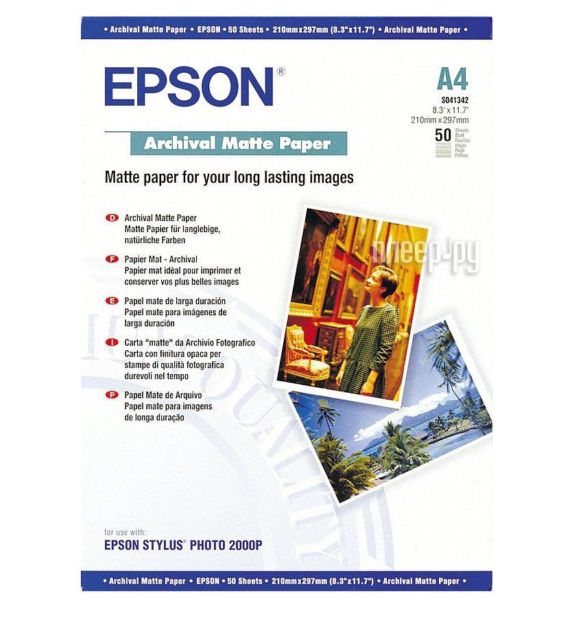 Фотобумага Epson C13S041342 Матовая 192g / m2 A4 50 листов