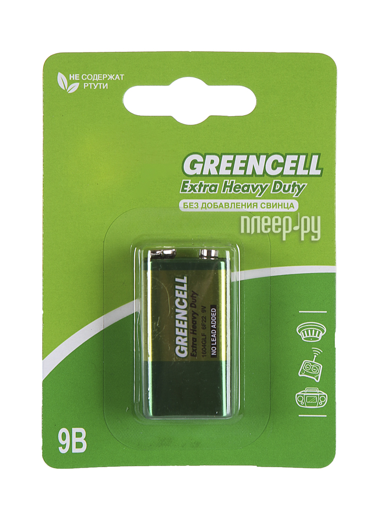 Батарейка КРОНА GP Greencell 1604G (6F22)-BC1