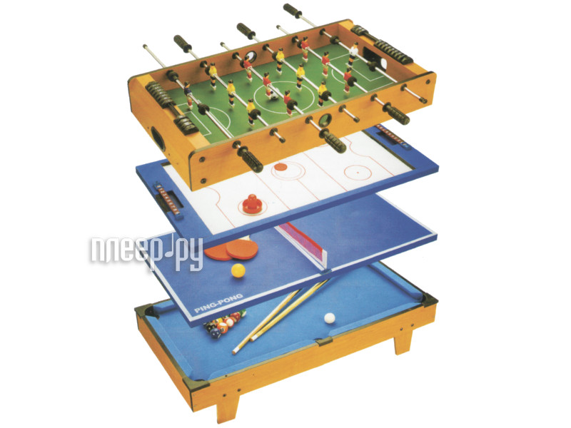 Игровой стол Partida Футбол + Аэрохоккей + Теннис + Бильярд 82х43х24