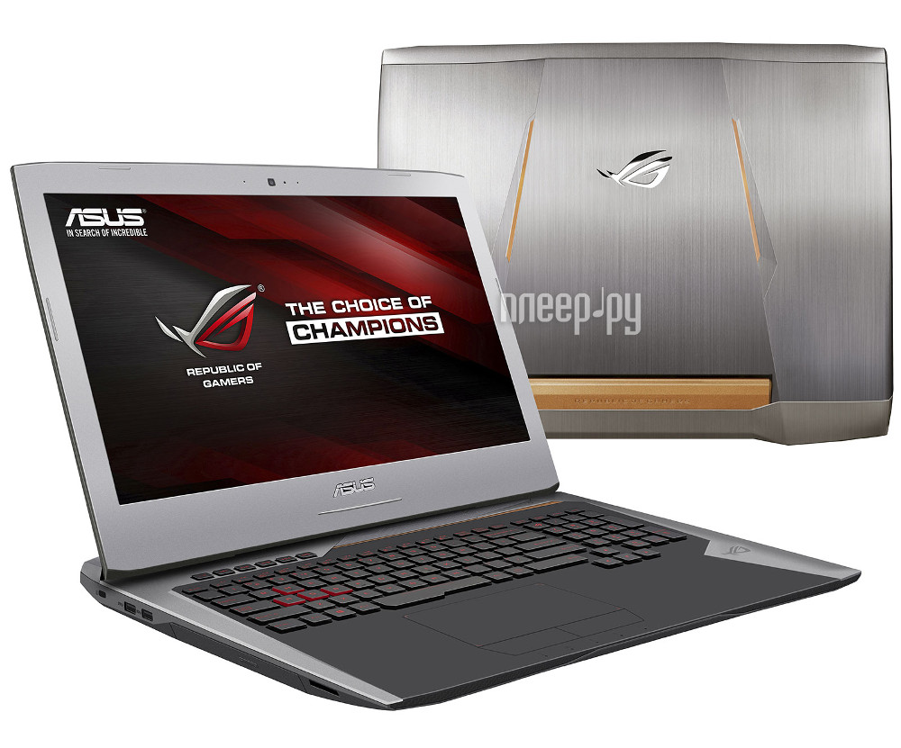 Ноутбук ASUS ROG G752VY-GC122T 90NB09V1-M01370 (Intel Core i7-6700HQ 2.6 GHz / 16384Mb / 1000Gb + 128Gb SSD / DVD-RW / nVidia GeForce GTX 980M 4096Mb / Wi-Fi / Cam / 17.3 / 1920x1080 / Windows 10 64-bit)