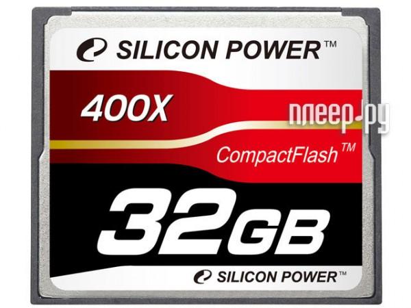 Карта памяти 32Gb - Silicon Power 400X Professional - Compact Flash SP032GBCFC400V10  Pleer.ru  1889.000