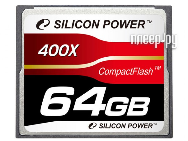 Карта памяти 64Gb - Silicon Power 400X Professional - Compact Flash SP064GBCFC400V10  Pleer.ru  3248.000