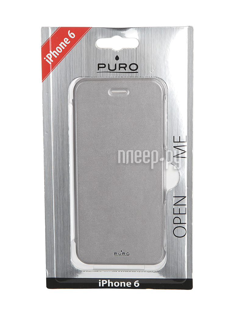 Аксессуар Чехол PURO Eco-Leather Cover для iPhone 6 Silver IPC647BOOKCCRYSIL