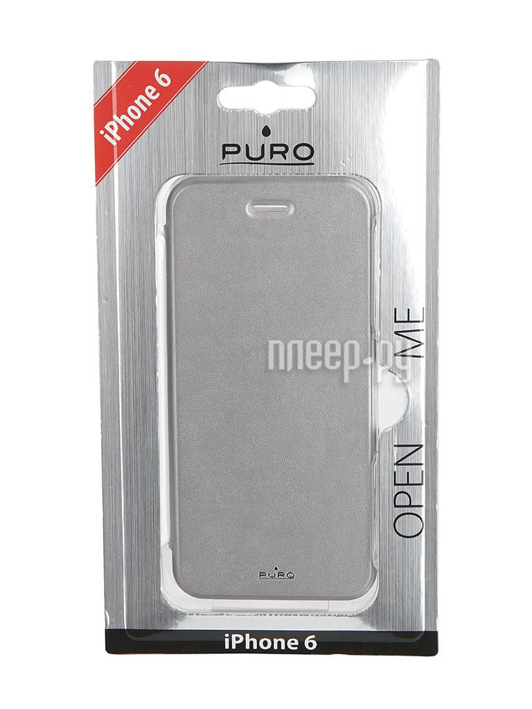 Аксессуар Чехол PURO Eco-Leather Cover для iPhone 6 Silver IPC647BOOKCCRYSIL