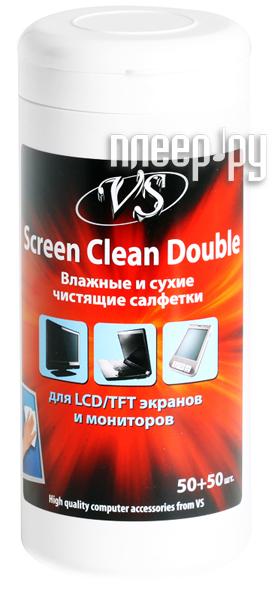 Аксессуар Салфетки чистящие Screen Clean Double, 50 сухих и 50 влажных  Pleer.ru  476.000