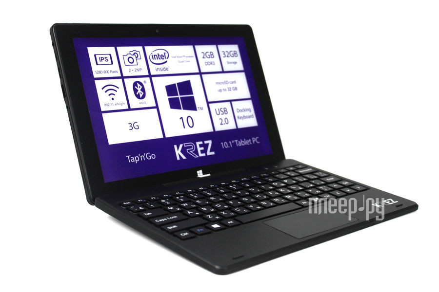 Планшет KREZ TM1005B32 3G (Intel Atom Z3735F 1.3 GHz/2048Mb/32Gb/Wi-Fi/3G/Bluetooth/Cam/10.1/1280x800/Windows 10)