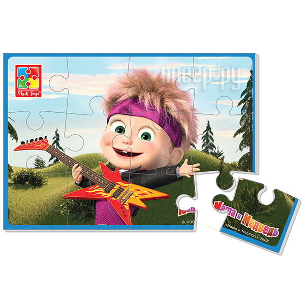 Игрушка Vladi Toys Мягкие пазлы Маша и Медведь, Маша с гитарой VT1103-31