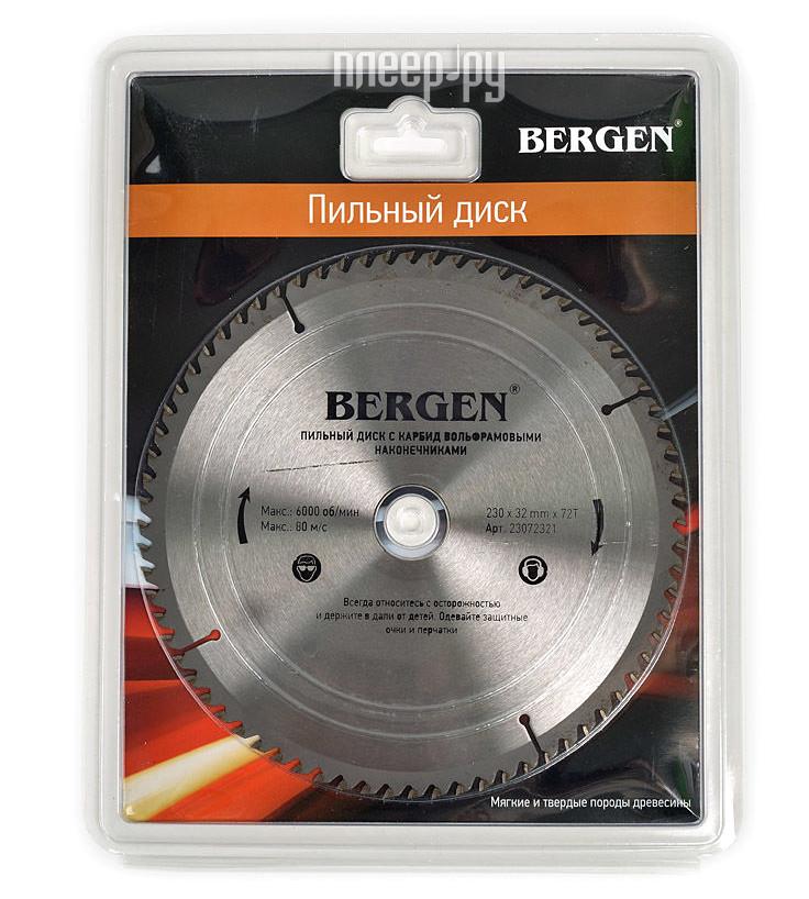 Диск BERGEN 230x72Tx32/30mm 23072321 пильный, по дереву, ДСП, ДВП и МДФ