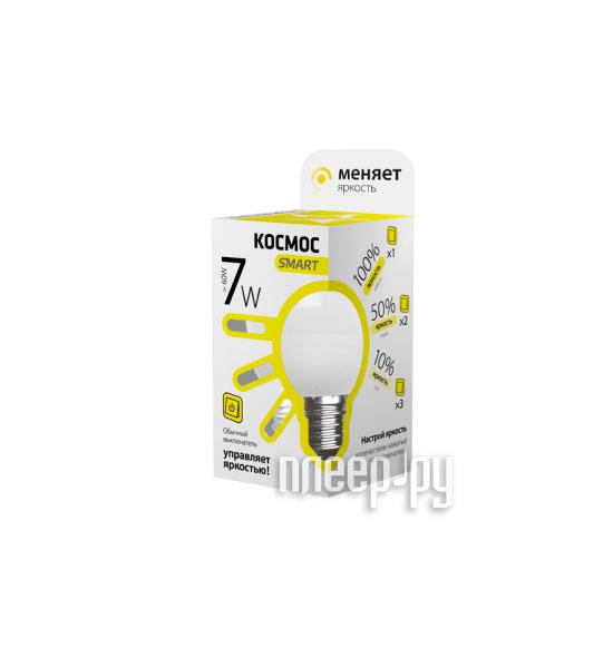 Лампочка Космос Smart LED E14 7W 220V 3000K LksmLEDSD7wGL45E1430