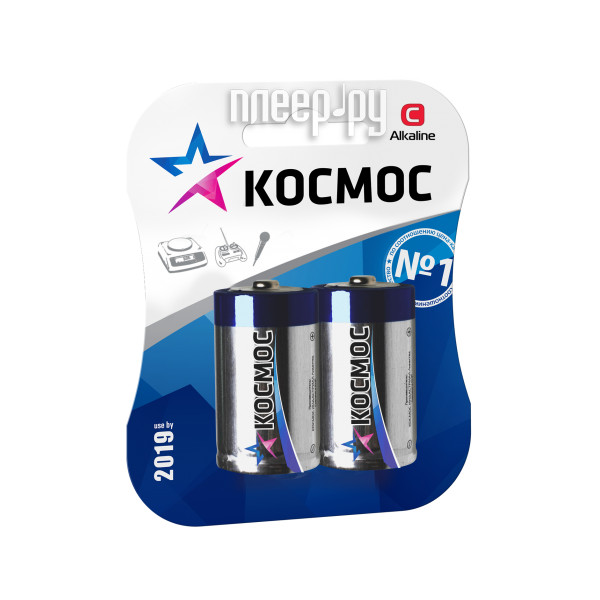 Батарейка C - Космос Alkaline LR14-2BL KOCLR14MAX2BL (2 штуки)