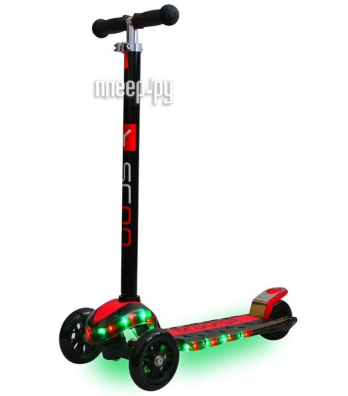 Самокат Y-SCOO Maxi Laser Show Black-Red