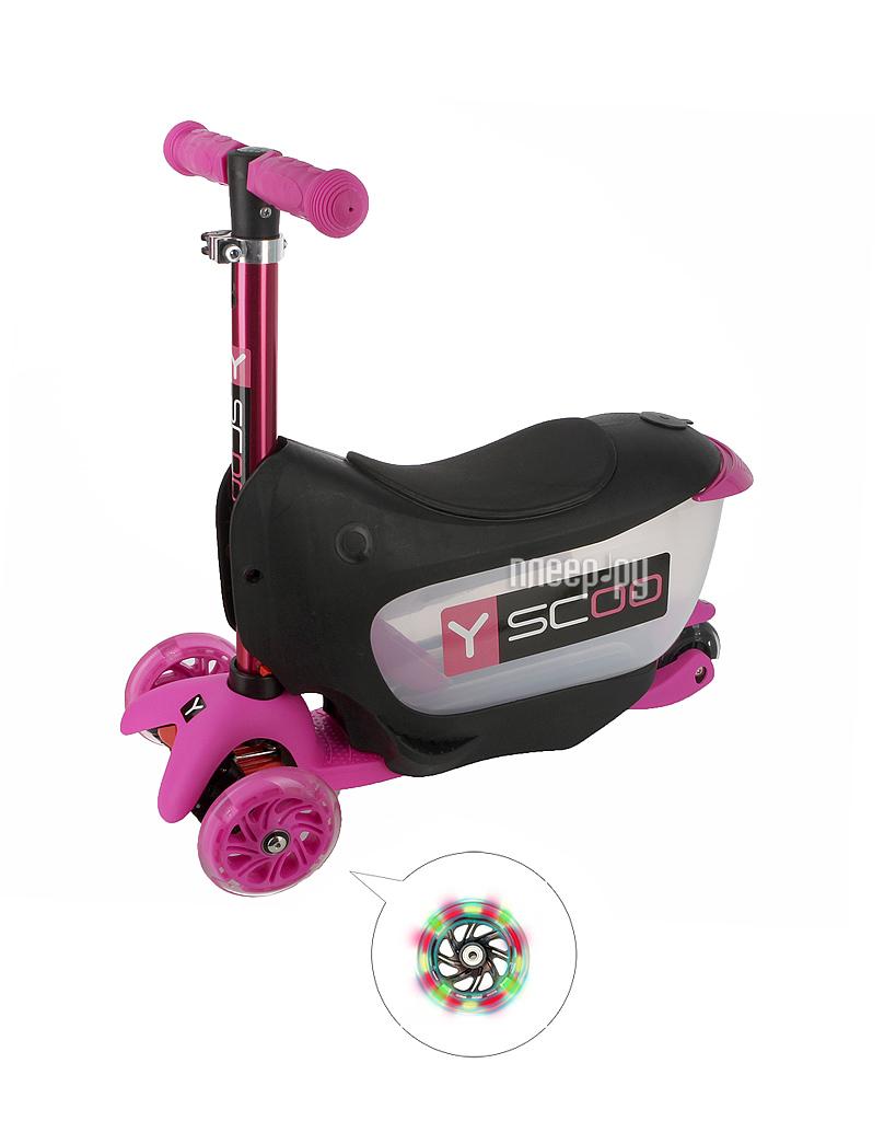 Самокат Y-SCOO Mini Jump&Go Pink со светящимися колесами