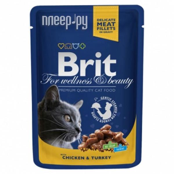 Корм Brit Курица и индейка 100g для кошек 100308 / 6309