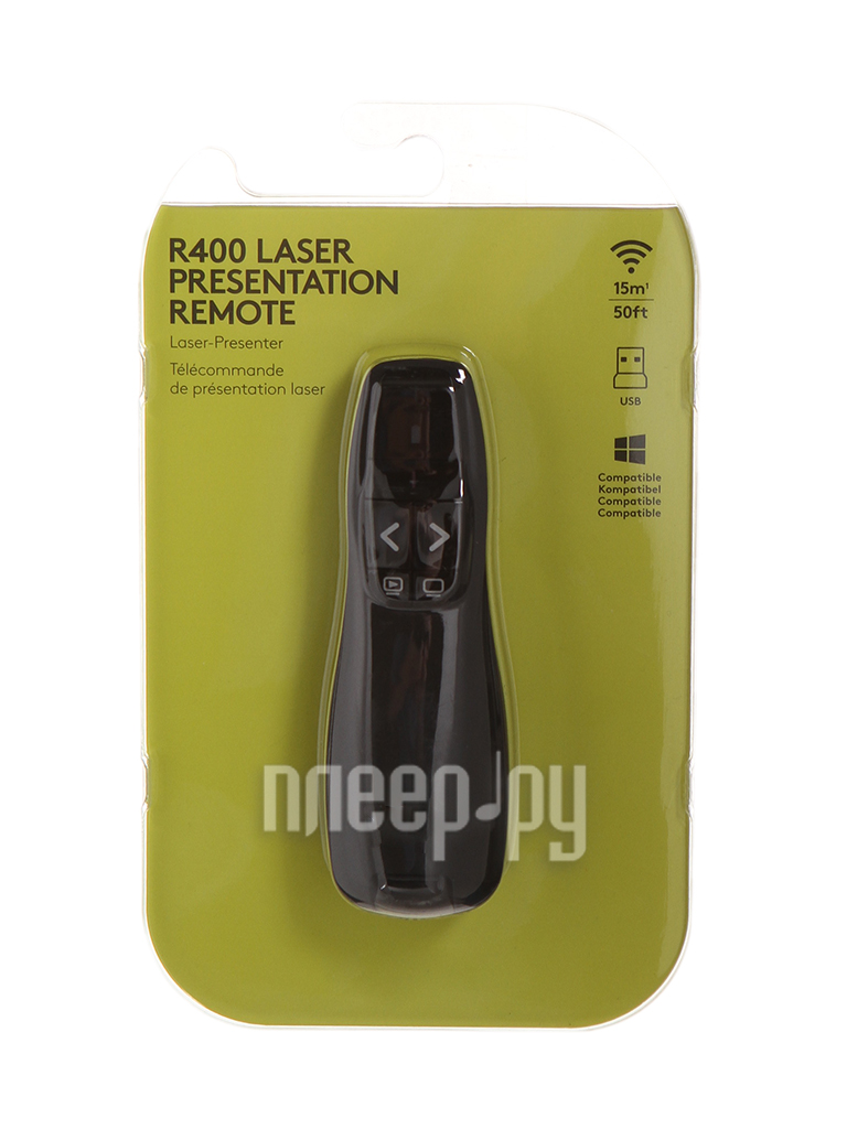 Пульт ДУ Logitech Wireless Presenter R400 Black USB  Pleer.ru  2261.000