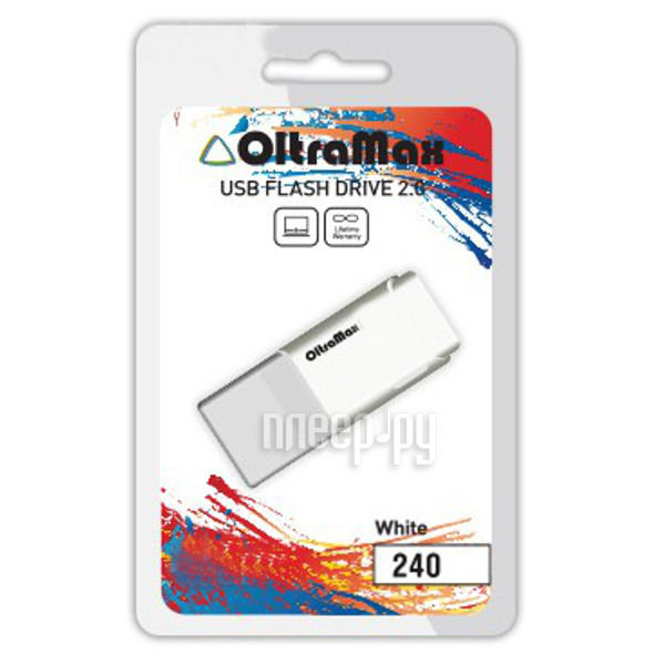 USB Flash Drive 64Gb - OltraMax 240 White OM-64GB-240-White