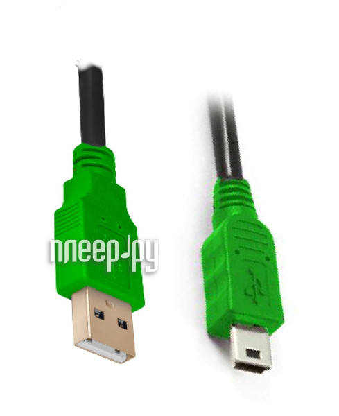 Аксессуар Greenconnect USB 2.0 AM-mini 5pin 0.30m Black-Green GCR-UM3M5P-BB2S-0.3m купить