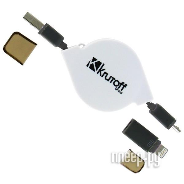 Аксессуар Krutoff USB - MicroUSB + Lightning для iPhone 5 / 6 Black 14150