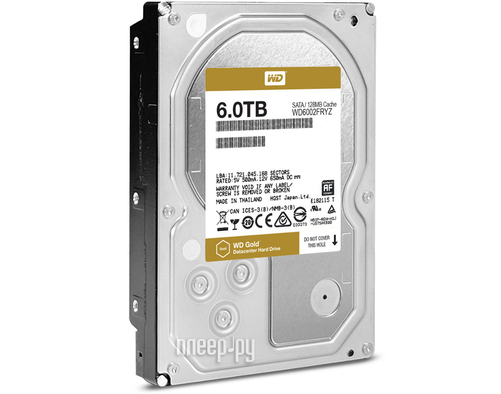 Жесткий диск 6Tb - Western Digital Gold WD6002FRYZ
