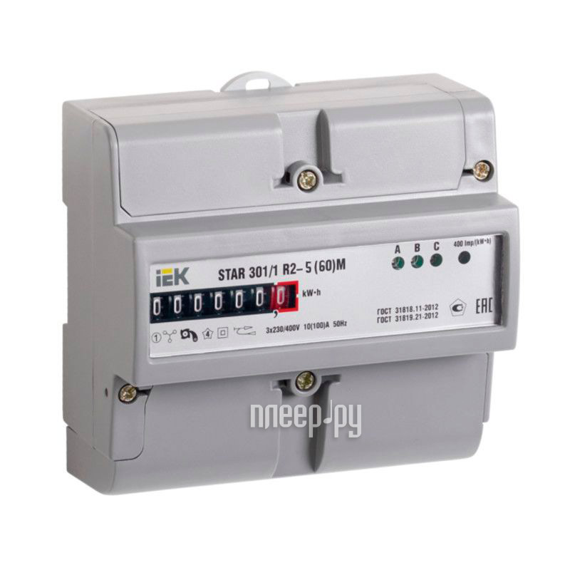 Счетчик электроэнергии IEK STAR 301 / 1 R2-5(60)М CCE-3R1-1-01-1