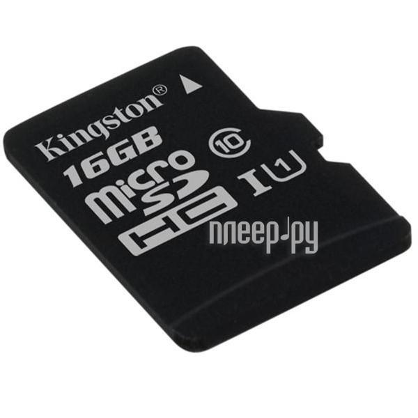 Карта памяти 16Gb - Kingston Micro Secure Digital HC Class 10 UHS-I U1 SDC10G2 / 16GBSP