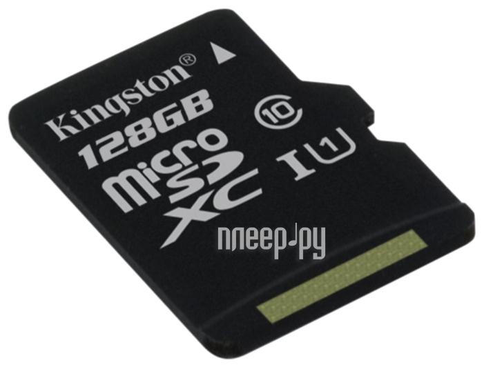 Карта памяти 128Gb - Kingston Micro Secure Digital XC Class 10 UHS-I U1 SDC10G2 / 128GBSP