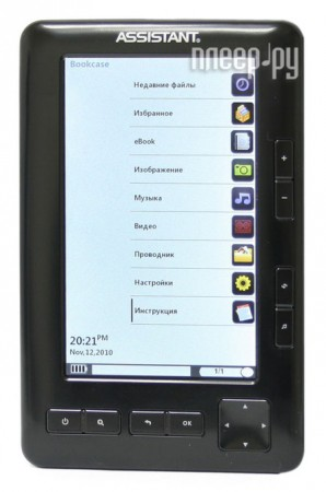 Электронная книга Assistant MediaReader АЕ-501 - 4Gb Black  Pleer.ru  884.000