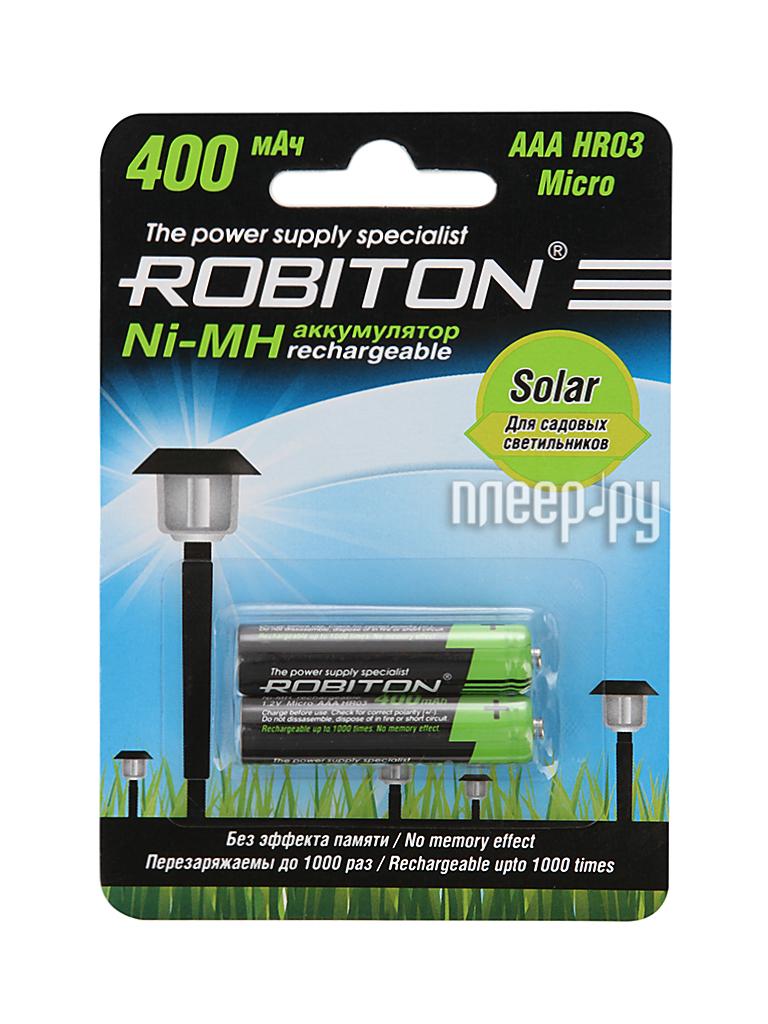 Аккумулятор AAA - Robiton SOLAR 400MHAAA-2 13904 BL2 (2 штуки)