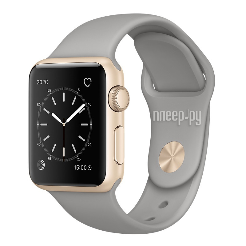 Умные часы APPLE Watch Series 2 38mm Gold with Grey Stone Sport Band MNP22RU/A