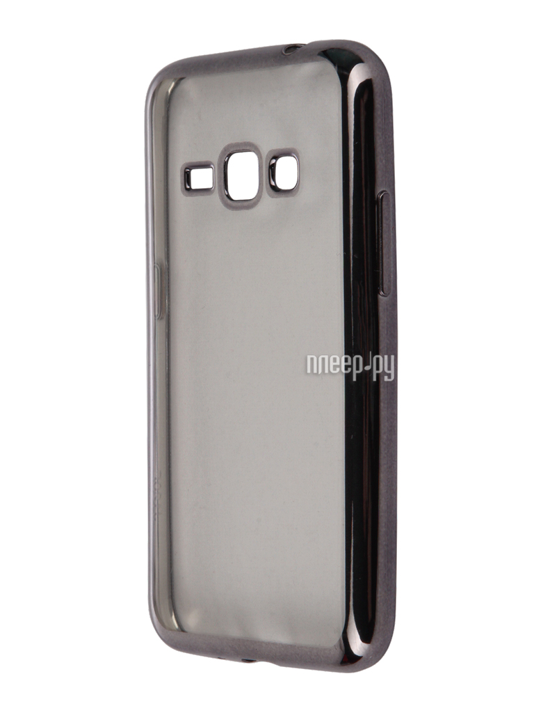 Аксессуар Чехол-накладка Samsung Galaxy J1 (2016) SkinBox Silicone Chrome Border 4People Dark Silver T-S-SGJ12016-008