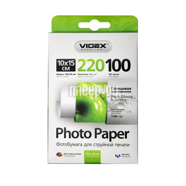 Фотобумага Videx HGA6-220/100 10x15 220g/m2 глянцевая 100 листов