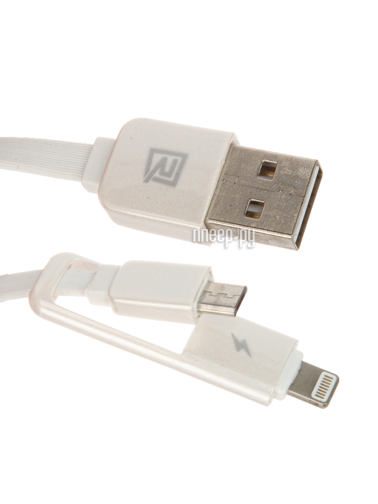 Аксессуар Remax Transformers 2 в 1 microUSB to iPhone 6/6 Plus 1m White 14206