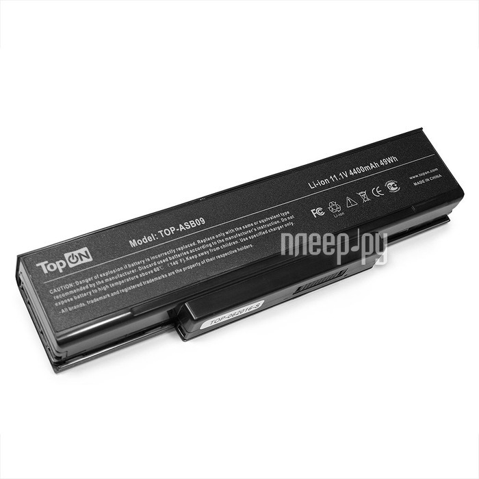 Аккумулятор TopON TOP-ASB09 11.1V 4400mAh для ASUS Z53/S62/Z9400/A9/F2/F3/M51/Benq Joybook R55/Clevo M660/Hasee W/Lg E500/Msi M67SU