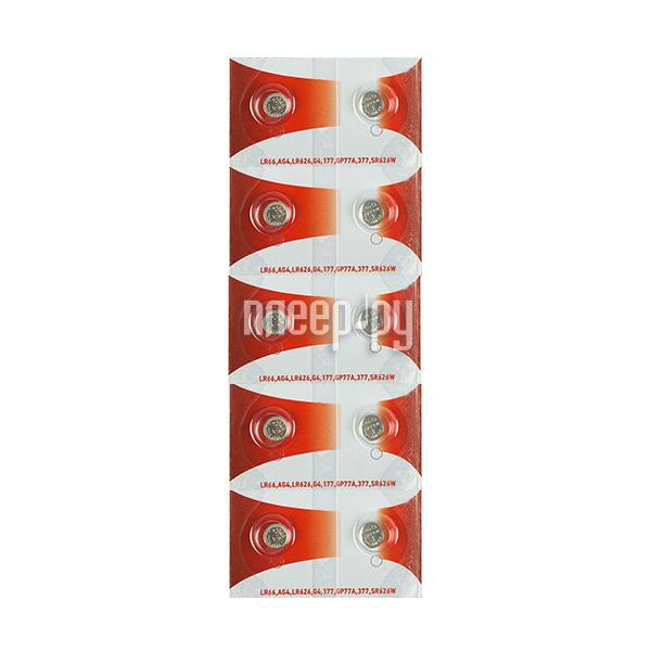 Батарейка Rexant LR66 / AG4 / LR626 / G4 / 177 / GP77A / 377 / SR626W 30-1037 (10 штук)