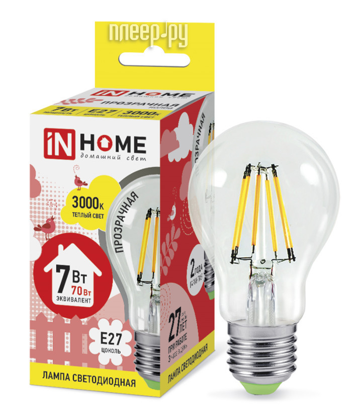 Лампочка IN HOME LED-A60-deco 7W